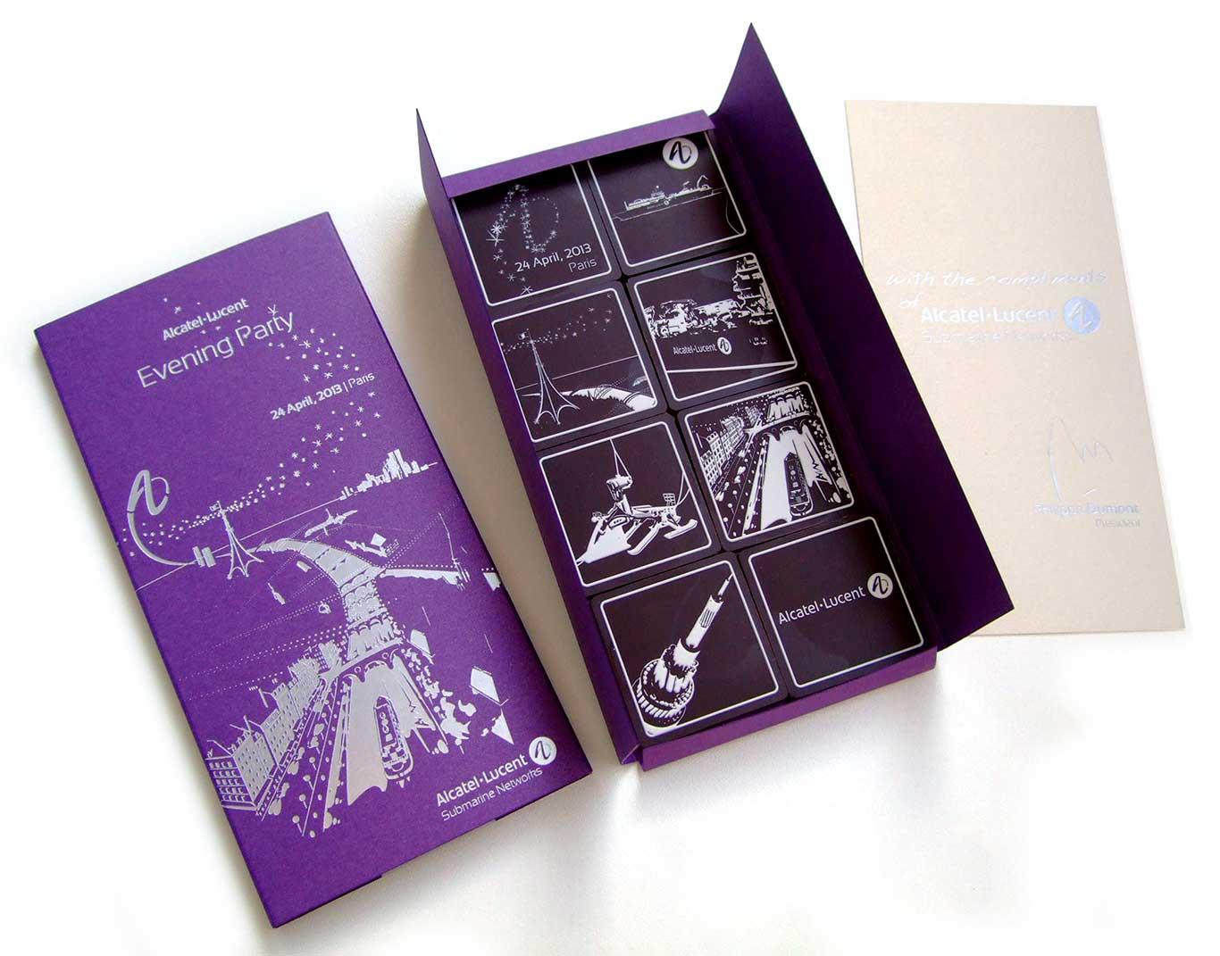 Packaging boite à chocolat de l'Evening party d'Alcatel-Lucent