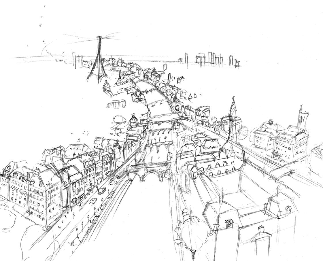 Dessin préparatoire ville de Paris